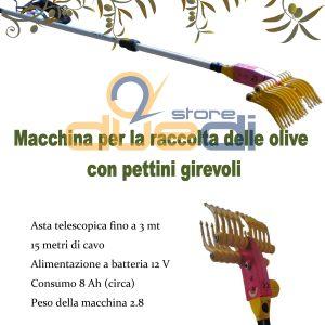 Rastrello raccogli olive con pettini girevoli